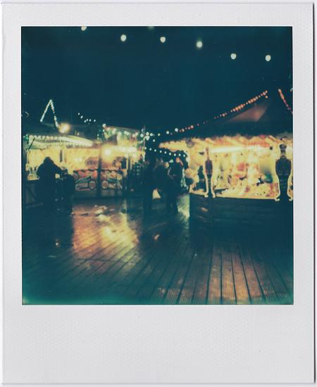 At Night With Rain Fairground Glow Polaroid SX-70