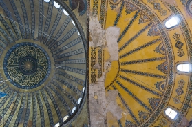 Looking up at the domed ceiling
