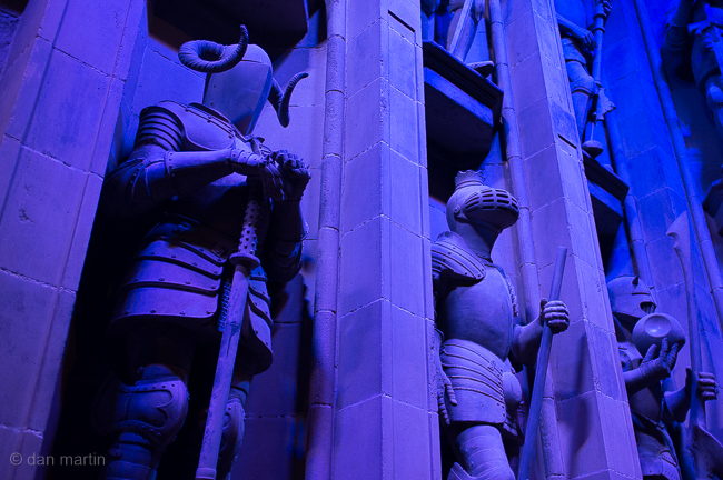 Sculptures either side of the Great Hall's main doors.