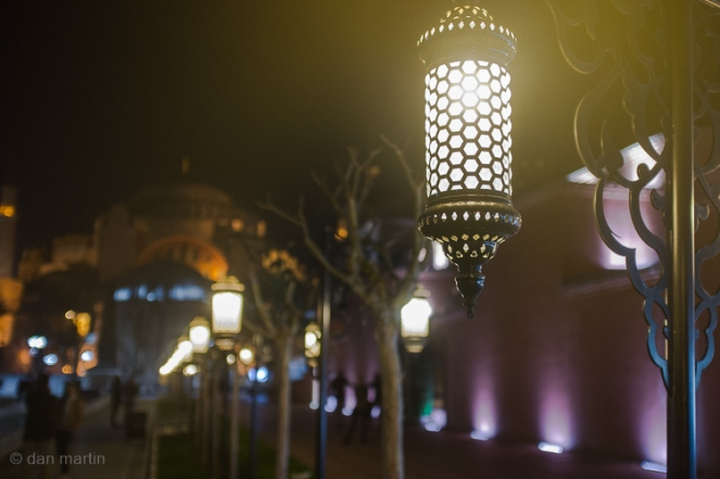 Lamps hang along the plaza between The Hagia Sophia and Blue Mosque