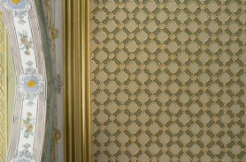 Looking up at the ornate baroque detailings