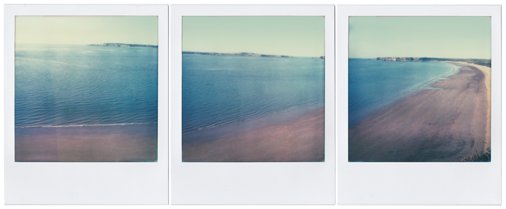 Triptych of Tenby Beach Polaroid SX-70 Impossible Project Colour Film