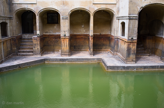 Roman Baths, Bath. Love the colour of the water and the texture on the walls