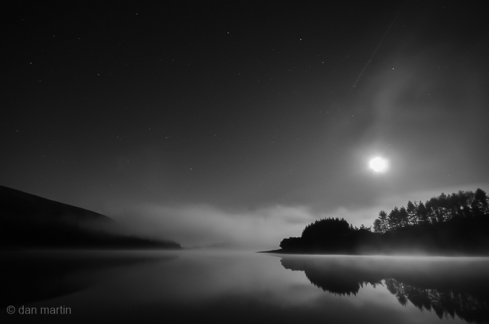 The moon illuminating; Contrast and reflection.