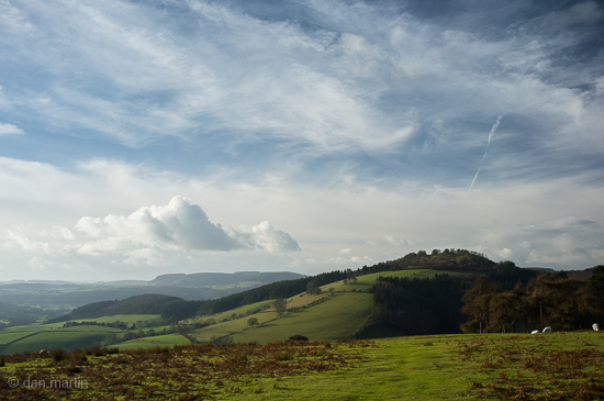 Shropshire Hills at Hopesay Looking toward Burrow Iron age fort