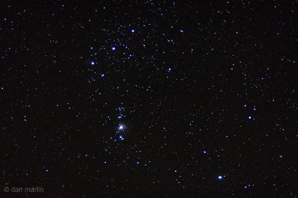 A simple photo; 5 seconds: Looking up at the expanse above. What wonders beholden, Orion and his belt. You can quite clearly make out M42 nebula. Nikon d90 | 85mm 1.8 | ISO 640 | 5 sec
