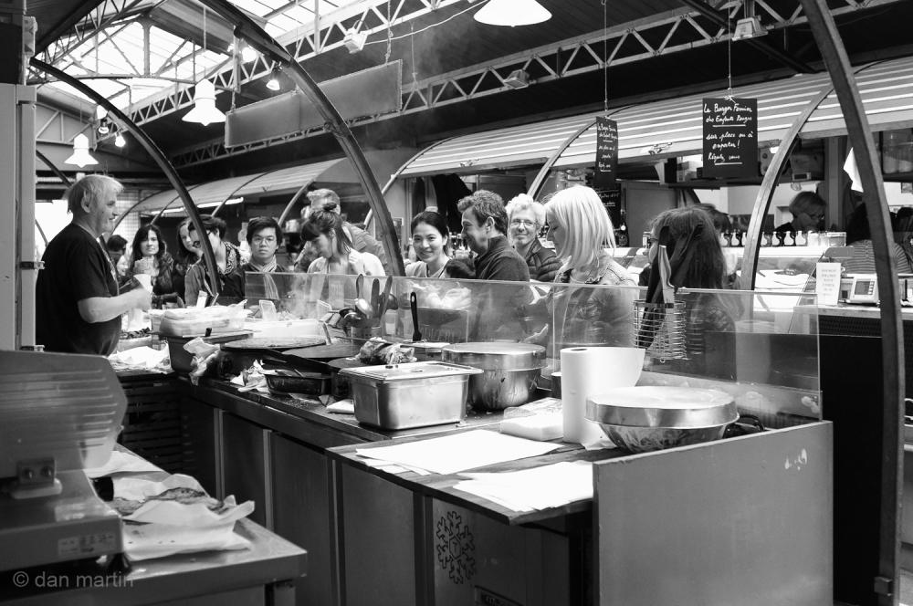 bustling market of eager eaters