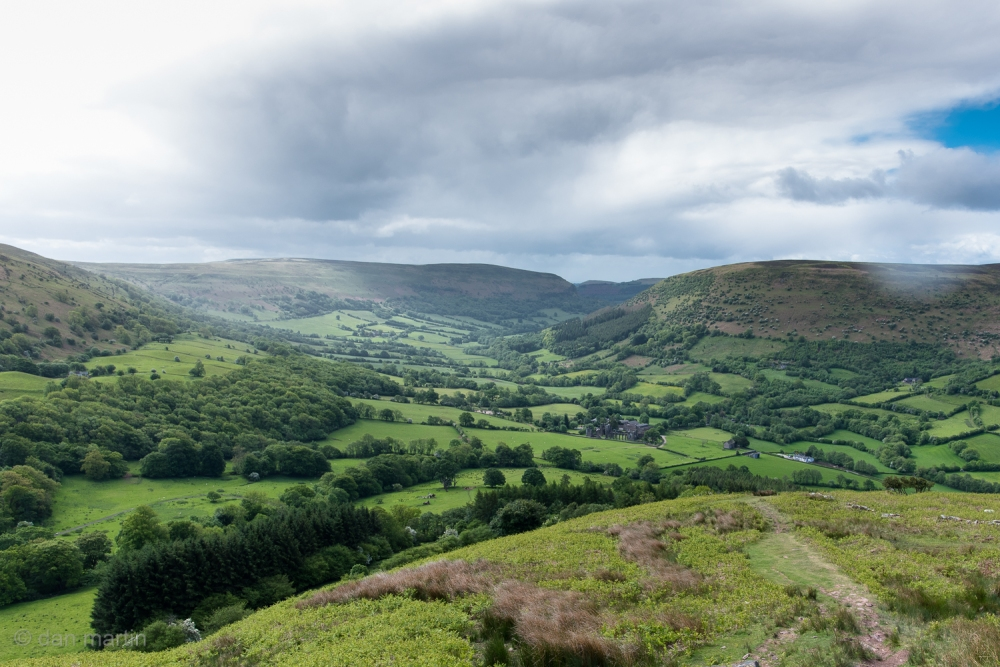 A mix of weather up on Offa's Dyke over looking Llanthony Priory nestled in the valley.