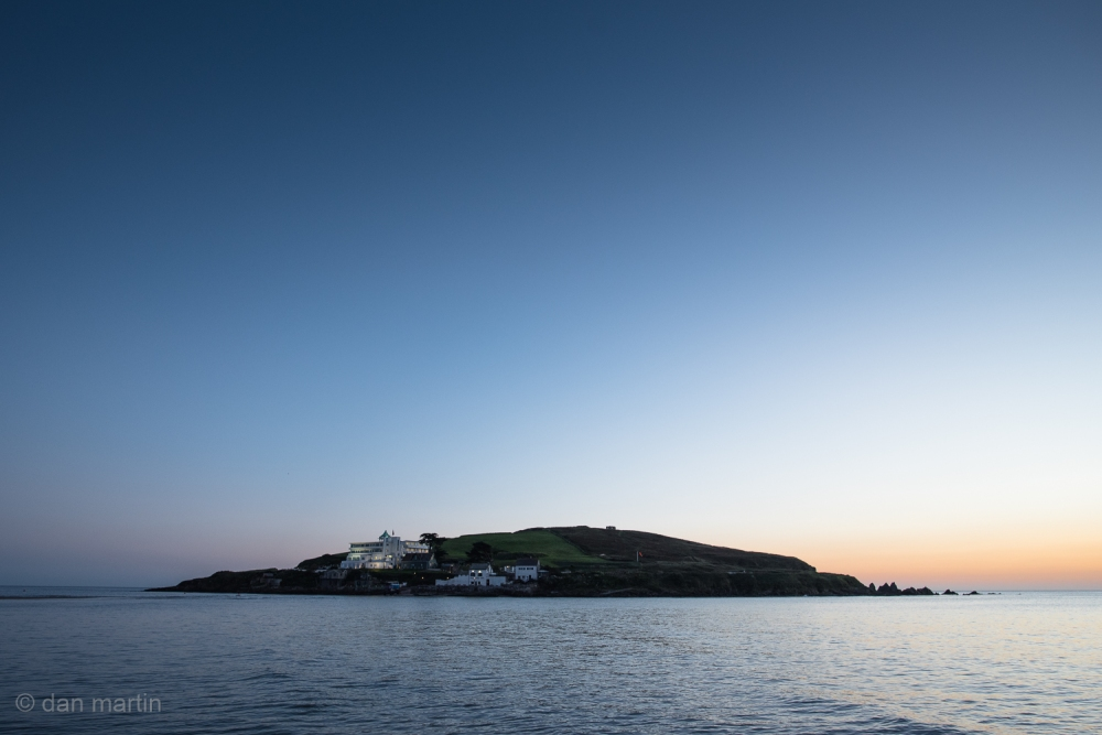Burgh Island Hotel against the remnants of the sunset