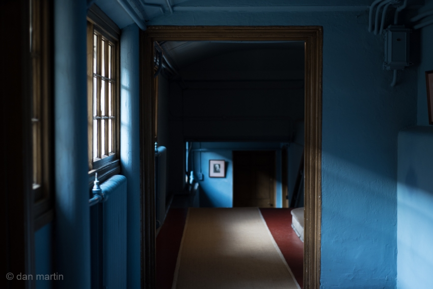 Lovely blue corridor. Light illuminating.