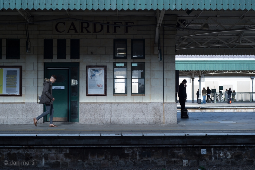 There is always something wonderful about stations. A mid point, beginning or end of someone's journey. Always interesting moments to be had. I like the light and motion upon the man walking on the left, and the silhouette of the man on the right.