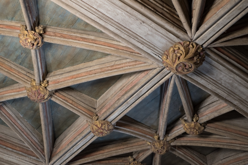 The carved timber ceiling of 15th Century St. Donats, Wales.