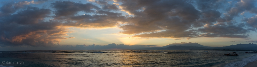 Sunrise from the north of Gili Air towards Lombok and Mount Rinjani