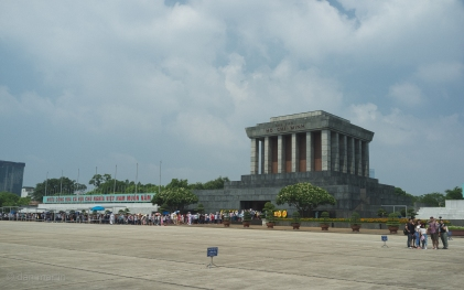 Ho Chi Minh Mausoleum. Ho Chi Minh, revered by the Vietnamese, lies in state here.