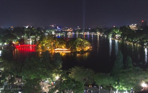 Overlooking Hoàn Kiếm Lake at night.