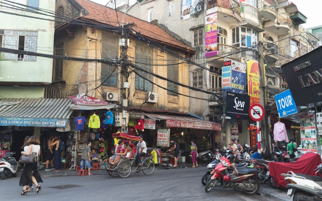 Hanoi! Vietnam! Wires! Wires everwhere, along with people (and mopeds).