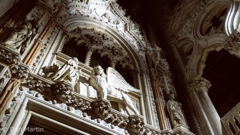 The beautifully detailed facade of the Doge's Palace